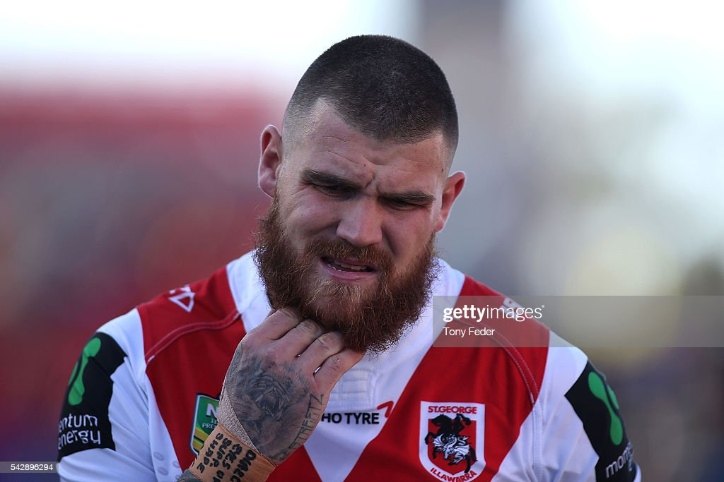 <a gi-track='captionPersonalityLinkClicked' href=/galleries/search?phrase=Josh+Dugan&family=editorial&specificpeople=5553377 ng-click='$event.stopPropagation()'>Josh Dugan</a> of the Dragons in the warm up before the start of th game during the round 16 NRL match between the Newcastle Knights and the St George Illawarra Dragons at Hunter Stadium on June 25, 2016 in Newcastle, Australia.