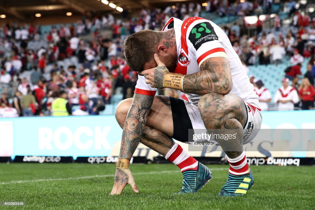 Josh Dugan of the Dragons looks dejected after defeat during the round 26 NRL match between the St George Illawarra Dragons and the Canterbury Bulldogs at ANZ Stadium on September 3, 2017 in Sydney, Australia.