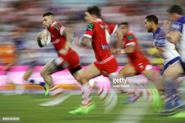 Josh Dugan of the Dragons makes a break during the round 14 NRL match between the Canterbury Bulldogs and the St George Illawarra Dragons at ANZ...