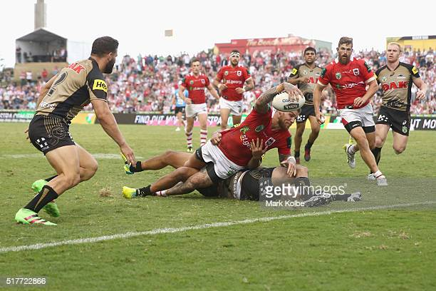 Josh Dugan of the Dragons scores try during the round four NRL match between the St George Illawarra Dragons and the Penrith Panthers at WIN Stadium...