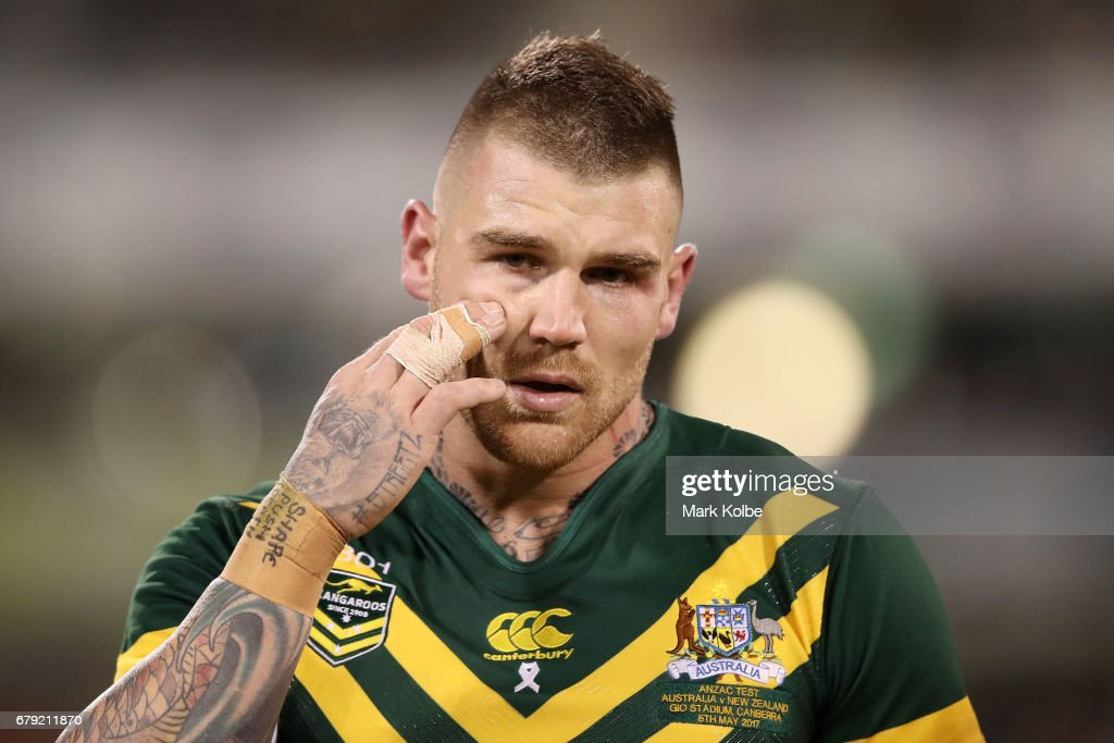 Josh Dugan of the Kangaroos looks dejected as he leaves the field with an injury during the ANZAC Test match between the Australian Kangaroos and the New Zealand Kiwis at GIO Stadium on May 5, 2017 in Canberra, Australia.