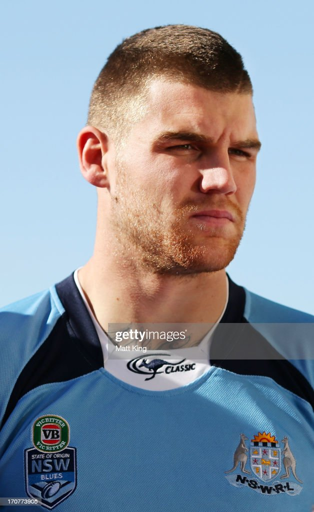 Josh Dugan waits during the New South Wales Blues state of origin team photo at Crowne Plaza Coogee on June 18 2013 in Sydney Australia