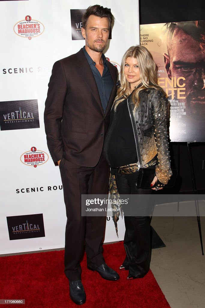 <a gi-track='captionPersonalityLinkClicked' href=/galleries/search?phrase=Josh+Duhamel&family=editorial&specificpeople=208740 ng-click='$event.stopPropagation()'>Josh Duhamel</a> and Fergie Duhamel arrive to the 'Scenic Route' Los Angeles Premiere at Chinese 6 Theater Hollywood on August 20, 2013 in Hollywood, California.