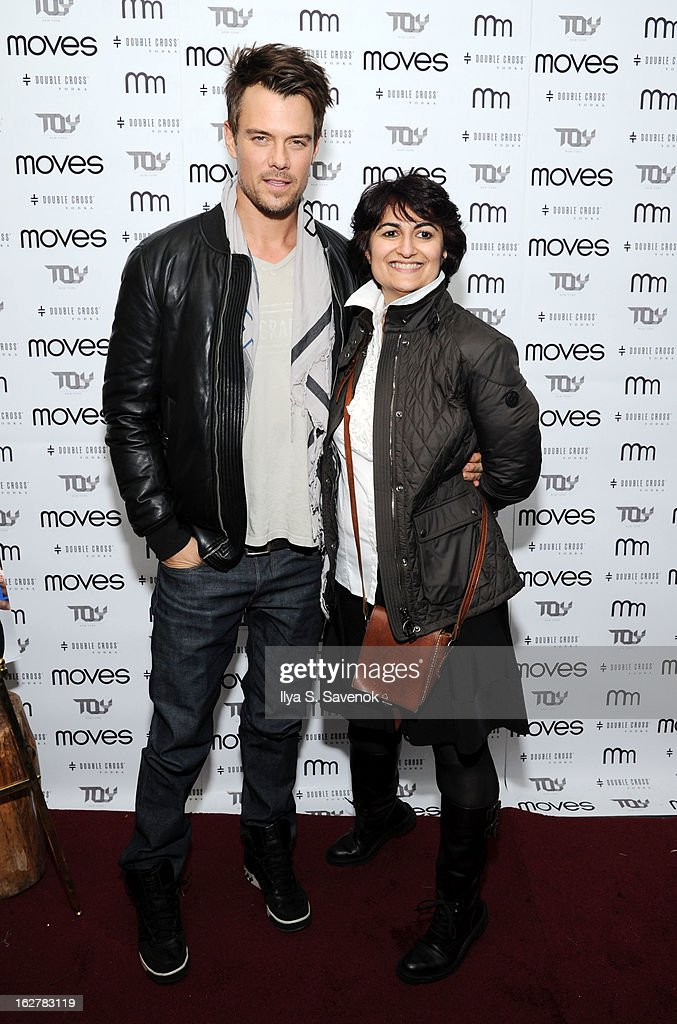 <a gi-track='captionPersonalityLinkClicked' href=/galleries/search?phrase=Josh+Duhamel&family=editorial&specificpeople=208740 ng-click='$event.stopPropagation()'>Josh Duhamel</a> and Moonah Ellison attend the Moves' 2013 Spring Fashion Issue Mens Cover Party at TOY at Gansevoort Hotel on February 26, 2013 in New York City.