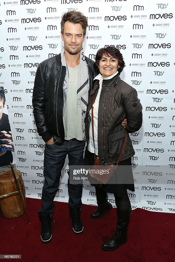 <a gi-track='captionPersonalityLinkClicked' href=/galleries/search?phrase=Josh+Duhamel&family=editorial&specificpeople=208740 ng-click='$event.stopPropagation()'>Josh Duhamel</a> (L) and Moves Publisher Moonah Ellison attend the Moves' 2013 Spring Fashion Issue Mens Cover Party at TOY at Gansevoort Hotel on February 26, 2013 in New York City.