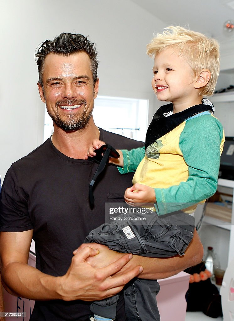 Josh Duhamel and son Axl attend the partnership celebration between TOMS and Oceana to help save the sea turtles on March 24 2016 at Au Fudge in West...
