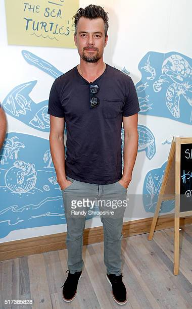 Josh Duhamel attends the partnership celebration between TOMS and Oceana to help save the sea turtles on March 24 2016 at Au Fudge in West Hollywood...