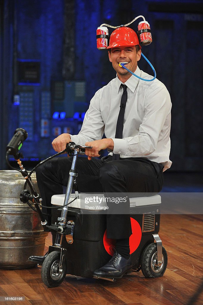 Josh Duhamel takes part in 'Cooler Races' during a taping of 'Late Night With Jimmy Fallon' at Rockefeller Center on February 12, 2013 in New York City.