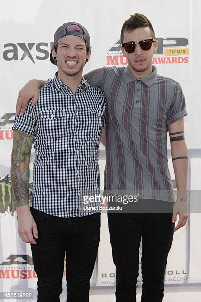 Josh Dun and Tyler Joseph of Twenty One Pilots attend the 2014 Gibson Brands AP Music Awards at the Rock and Roll Hall of Fame and Museum on July 21...