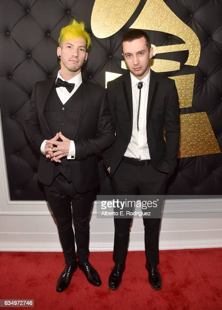 Josh Dun and Tyler Joseph of Twenty One Pilots attends The 59th GRAMMY Awards at STAPLES Center on February 12 2017 in Los Angeles California