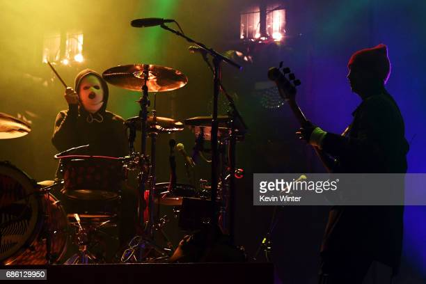 Josh Dun and Tyler Joseph of Twenty One Pilots perform at the Hangout Stage during 2017 Hangout Music Festival on May 20 2017 in Gulf Shores Alabama