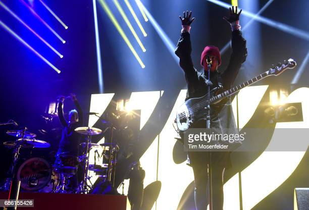 Josh Dun and Tyler Joseph of Twenty One Pilots perform during the 2017 Hangout Music Festival on May 20 2017 in Gulf Shores Alabama