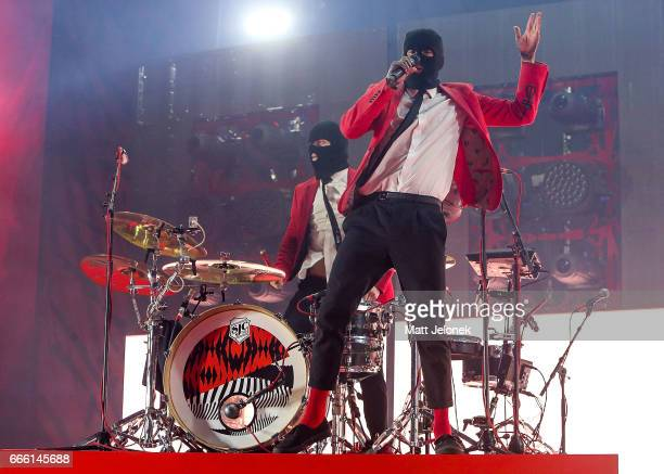 Josh Dun and Tyler Joseph of Twenty One Pilots performs on stage at Perth Arena on April 8 2017 in Perth Australia