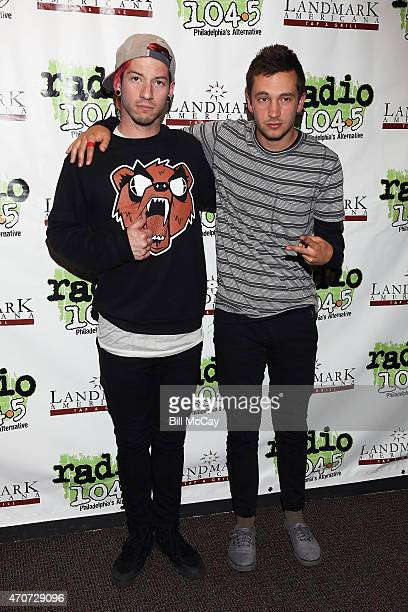 Josh Dun and Tyler Joseph of Twenty One Pilots pose at the Radio 1045 Performance Theater April 22 2015 in Bala Cynwyd Pennsylvania