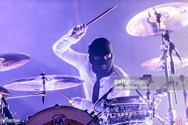 Josh Dun of American musical duo Twenty One Pilots performs on stage on November 7 2016 in Milan Italy