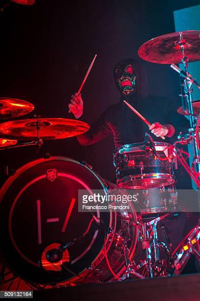 Josh Dun of twenty one pilots perform on February 8 2016 in Milan Italy