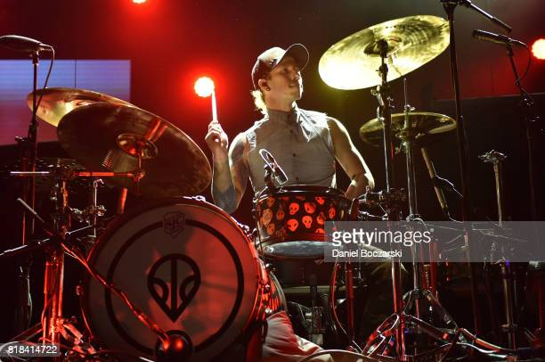 Josh Dun of Twenty One Pilots performs during the 2017 Alternative Press Music Awards at KeyBank State Theatre on July 17 2017 in Cleveland Ohio