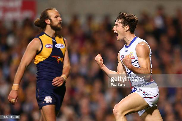 Josh Dunkley of the Bulldogs celebrates a goal during the Second Elimination Final match between the West Coast Eagles and the Western Bulldogs at...