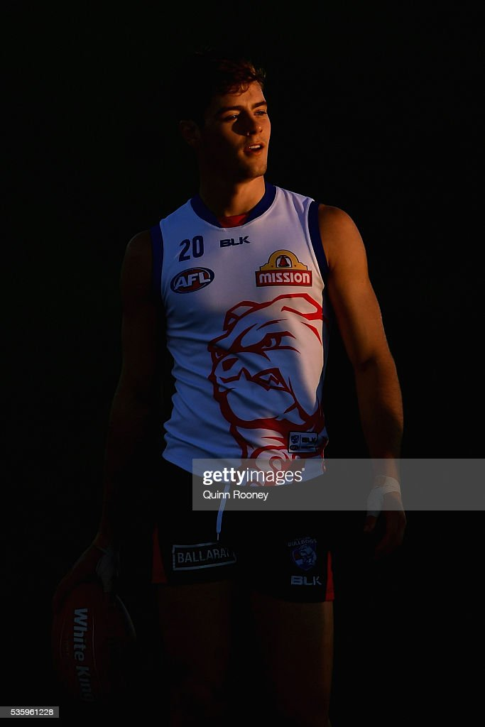 Josh Dunkley of the Bulldogs looks on during a Western Bulldogs AFL training session at Whitten Oval on May 31, 2016 in Melbourne, Australia.