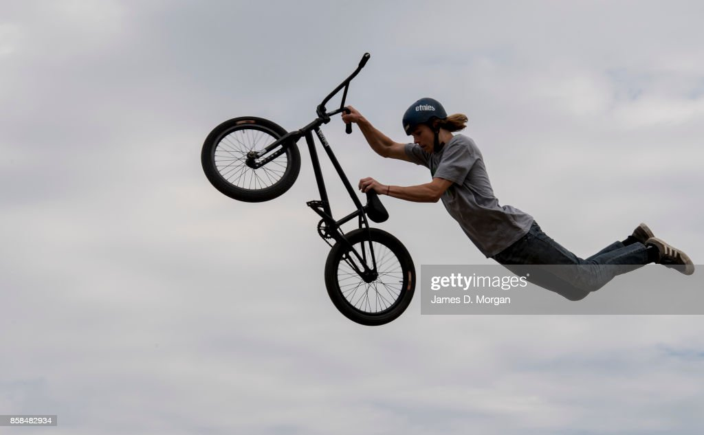 Josh Eaton, a BMX bicycle freestyle athlete performs on October 7, 2017 in Sydney, Australia. The Big Adventure at Sydney Park is part of the month-long Sydney Rides Festival, aimed at encouraging Sydney residents to get outdoors and active.