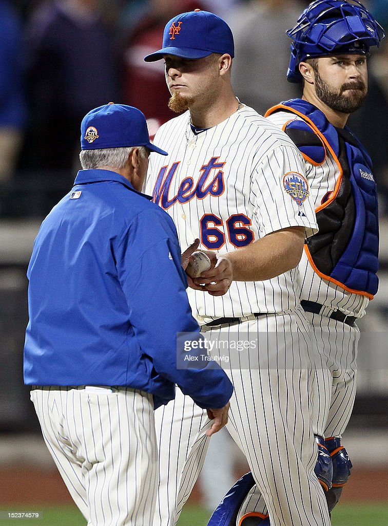 Josh Edgin #66 of the New York Mets gives the ball to manager <a gi-track='captionPersonalityLinkClicked' href=/galleries/search?phrase=Terry+Collins&family=editorial&specificpeople=2593404 ng-click='$event.stopPropagation()'>Terry Collins</a> after giving up a two run home run in the ninth inning to Ryan Howard of the Philadelphia Phillies at Citi Field on September 19, 2012 in the Flushing neighborhood of the Queens borough of New York City.