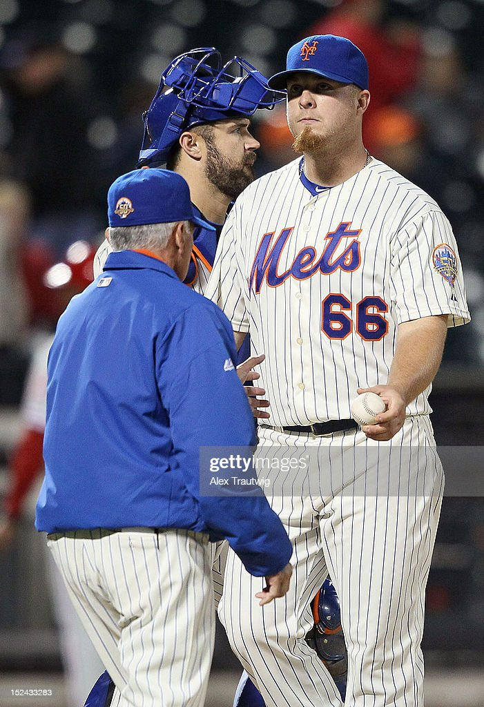 Josh Edgin #66 of the New York Mets gives the ball to manager <a gi-track='captionPersonalityLinkClicked' href=/galleries/search?phrase=Terry+Collins&family=editorial&specificpeople=2593404 ng-click='$event.stopPropagation()'>Terry Collins</a> after giving up a grand slam against the Philadelphia Phillies at Citi Field on September 20, 2012 in the Flushing neighborhood of the Queens borough of New York City.