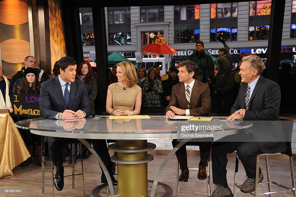 AMERICA - Josh Elliott, Amy Robach, George Stephanopoulos and Sam Champion co-anchor 'Good Morning America,' 2/8/13, airing on the ABC Television Network. (Photo by Donna Svennevik/Disney-ABC via Getty Images)JOSH