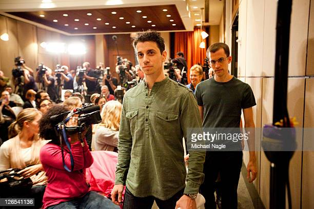 Josh Fattal and Shane Bauer two American hikers released after spending more than two years imprisoned in Iran walk into a pressfilled conference...