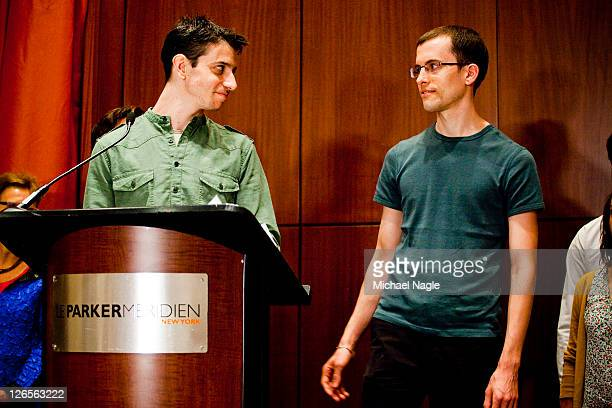 Josh Fattal and Shane Bauer two American hikers released after spending more than two years imprisoned in Iran held a press conference at the Parker...