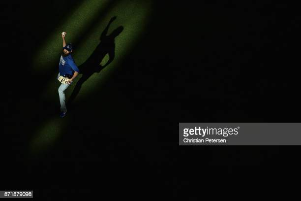 Josh Fields of the Los Angeles Dodgers warms up before game four of the 2017 World Series against the Houston Astros at Minute Maid Park on October...