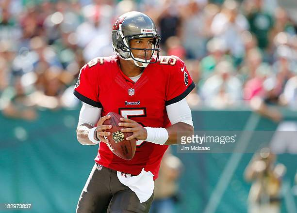 Josh Freeman of the Tampa Bay Buccaneers in action against the New York Jets on September 8 2013 at MetLife Stadium in East Rutherford New Jersey The...