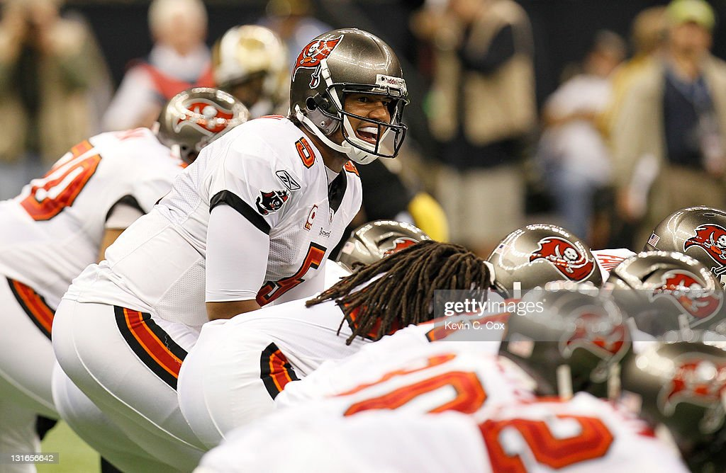 <a gi-track='captionPersonalityLinkClicked' href=/galleries/search?phrase=Josh+Freeman&family=editorial&specificpeople=4036797 ng-click='$event.stopPropagation()'>Josh Freeman</a> #5 of the Tampa Bay Buccaneers yells to his offense against the New Orleans Saints at Mercedes-Benz Superdome on November 6, 2011 in New Orleans, Louisiana.
