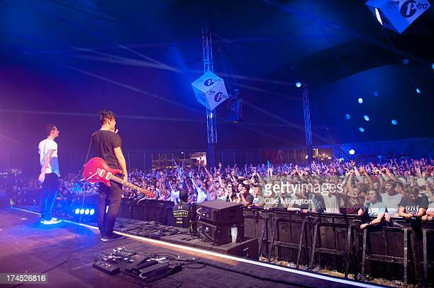 Josh Friend and Nick Tsang of Modestep perform on stage on Day 1 of Global Gathering 2013 on July 26 2013 in StratforduponAvon England