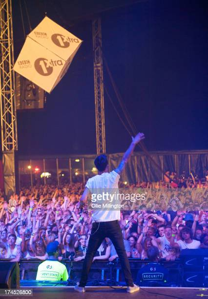 Josh Friend of Modestep performs on stage on Day 1 of Global Gathering 2013 on July 26 2013 in StratforduponAvon England
