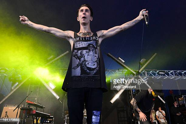 Josh Friend of the band Modestep performs on stage during Reading Festival 2012 at Richfield Avenue on August 25 2012 in Reading United Kingdom
