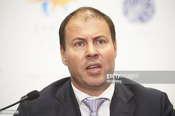 Josh Frydenberg Australia's minister of resources and energy reacts during the International Conference Exhibition on Liquefied Natural Gas in Perth...