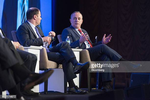 Josh Frydenberg Australia's minister of resources and energy right speaks as Yuval Steinitz Israel's minister of national infrastructure energy and...
