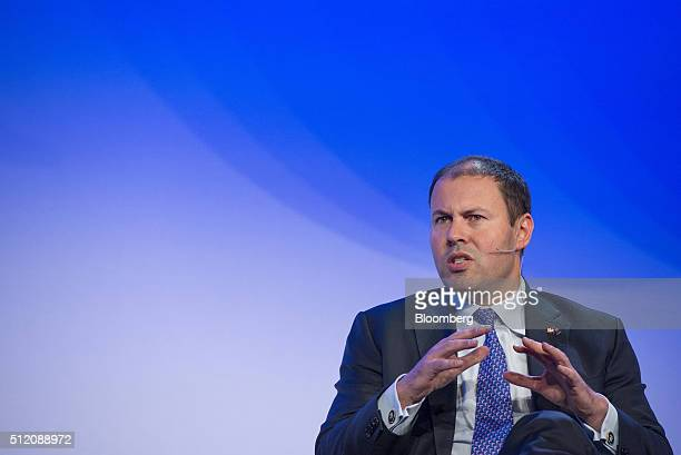Josh Frydenberg Australia's minister of resources and energy speaks during the 2016 IHS CERAWeek conference in Houston Texas US on Wednesday Feb 24...
