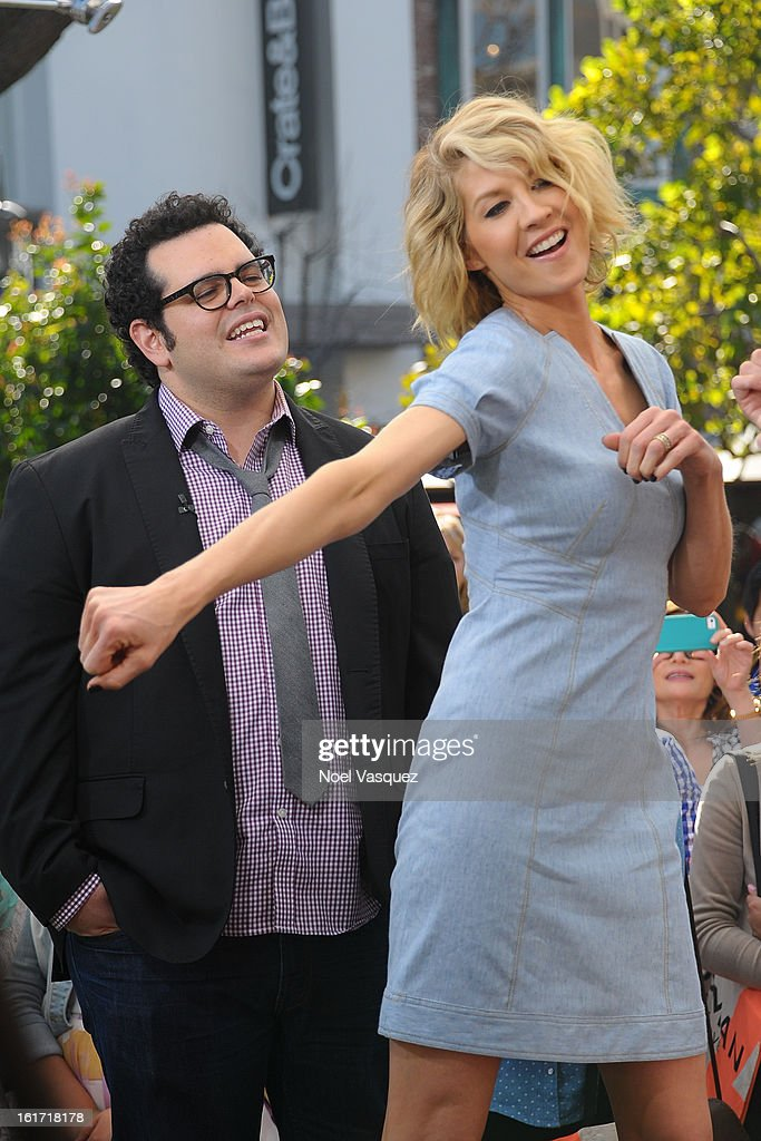 <a gi-track='captionPersonalityLinkClicked' href=/galleries/search?phrase=Josh+Gad&family=editorial&specificpeople=4196023 ng-click='$event.stopPropagation()'>Josh Gad</a> (L) and <a gi-track='captionPersonalityLinkClicked' href=/galleries/search?phrase=Jenna+Elfman&family=editorial&specificpeople=204782 ng-click='$event.stopPropagation()'>Jenna Elfman</a> visit Extra at The Grove on February 14, 2013 in Los Angeles, California.