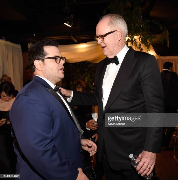 Josh Gad and John Lithgow attend the 2017 Tony Awards at Radio City Music Hall on June 11 2017 in New York City