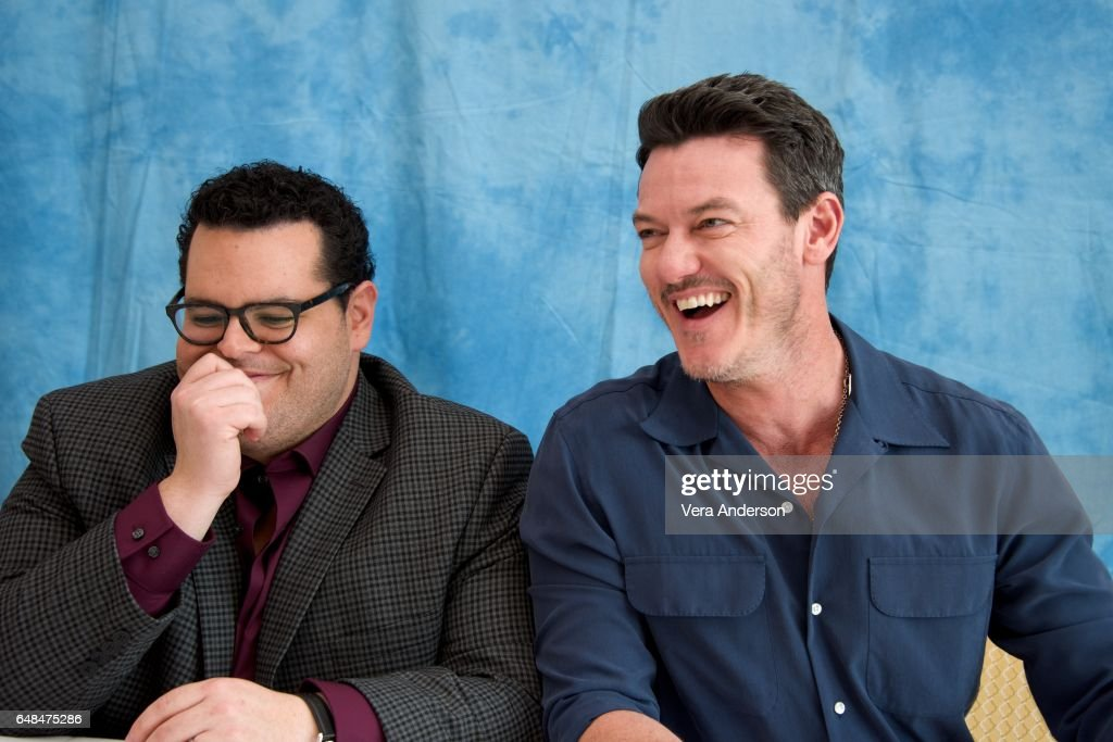 Josh Gad and Luke Evans at the 'Beauty and the Beast' Press Conference at the Montage Hotel on March 5, 2017 in Beverly Hills, California.