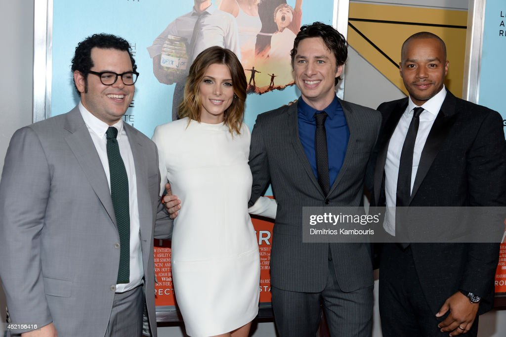 <a gi-track='captionPersonalityLinkClicked' href=/galleries/search?phrase=Josh+Gad&family=editorial&specificpeople=4196023 ng-click='$event.stopPropagation()'>Josh Gad</a>, <a gi-track='captionPersonalityLinkClicked' href=/galleries/search?phrase=Ashley+Greene&family=editorial&specificpeople=781552 ng-click='$event.stopPropagation()'>Ashley Greene</a>, <a gi-track='captionPersonalityLinkClicked' href=/galleries/search?phrase=Zach+Braff&family=editorial&specificpeople=203253 ng-click='$event.stopPropagation()'>Zach Braff</a> and <a gi-track='captionPersonalityLinkClicked' href=/galleries/search?phrase=Donald+Faison&family=editorial&specificpeople=213042 ng-click='$event.stopPropagation()'>Donald Faison</a> attend the 'Wish I Was Here' screening at AMC Lincoln Square Theater on July 14, 2014 in New York City.