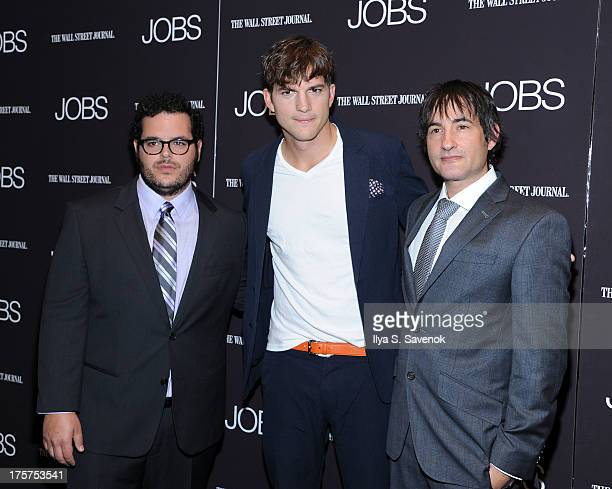 Josh Gad Ashton Kutcher and Joshua Michael Stern attend 'Jobs' New York Premiere at MOMA on August 7 2013 in New York City