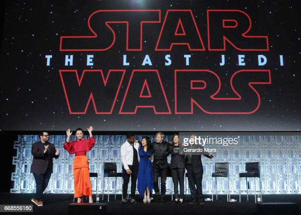 Josh Gad Daisy Ridley Kelly Marie Tran Mark Hamill Katheen Kennedy and Rian Johnson attend the Star Wars The Last Jedi panel during the 2017 Star...