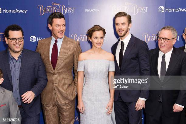 Josh Gad Luke Evans Emma Watson Dan Stevens and Bill Condon attend the UK Launch Event of 'Beauty And The Beast' at Odeon Leicester Square on...