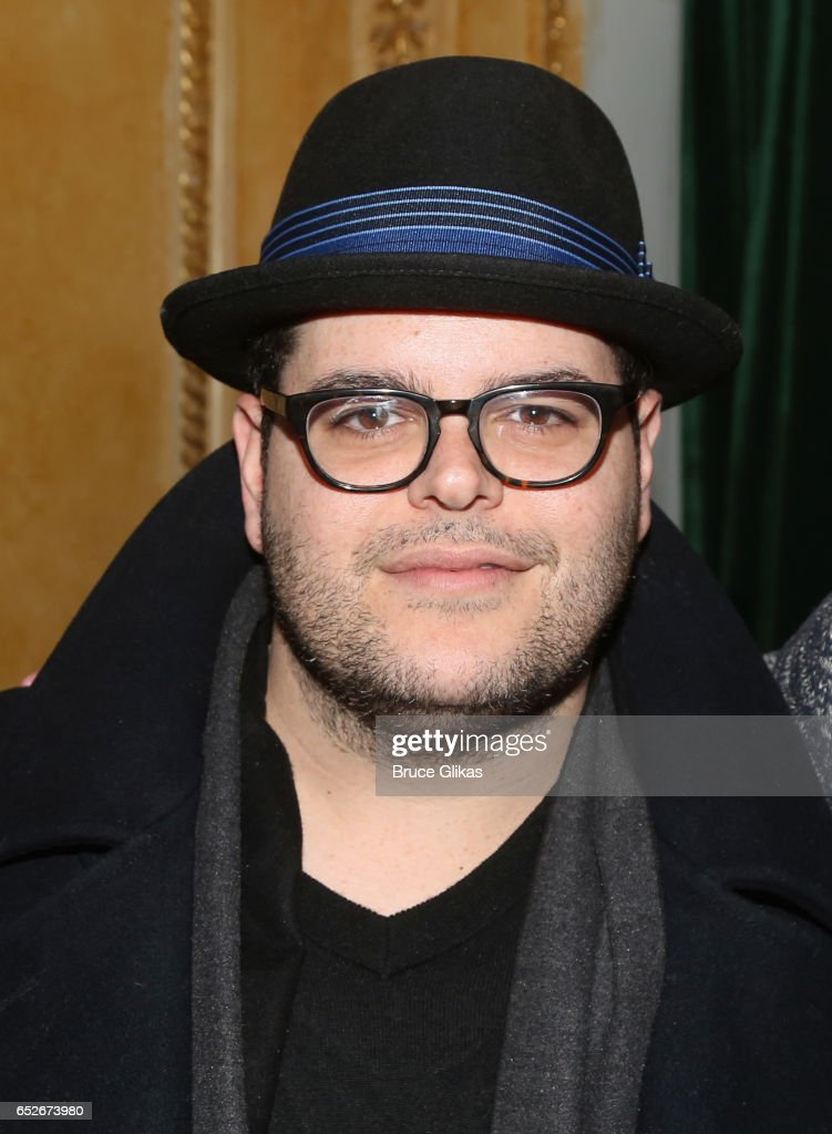 Josh Gad poses backstage at the hit musical revival of 'Sunday in The Park with George' on Broadway at The Hudson Theatre on March 12, 2017 in New York City.