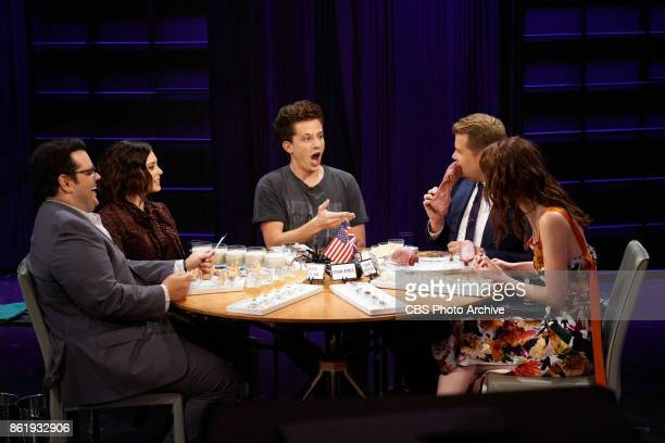 Josh Gad Rachel Bloom Charlie Puth James Corden and Michelle Dockery play Spill Your Guts or Fill Your Guts during 'The Late Late Show with James...