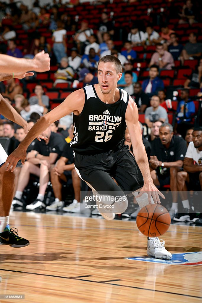 <a gi-track='captionPersonalityLinkClicked' href=/galleries/search?phrase=Josh+Gasser&family=editorial&specificpeople=7355332 ng-click='$event.stopPropagation()'>Josh Gasser</a> #26 of the Brooklyn Nets drives against the NBA D-League Select during the 2015 NBA Las Vegas Summer League game on July 17, 2015 at The Cox Pavilion in Las Vegas, Nevada.