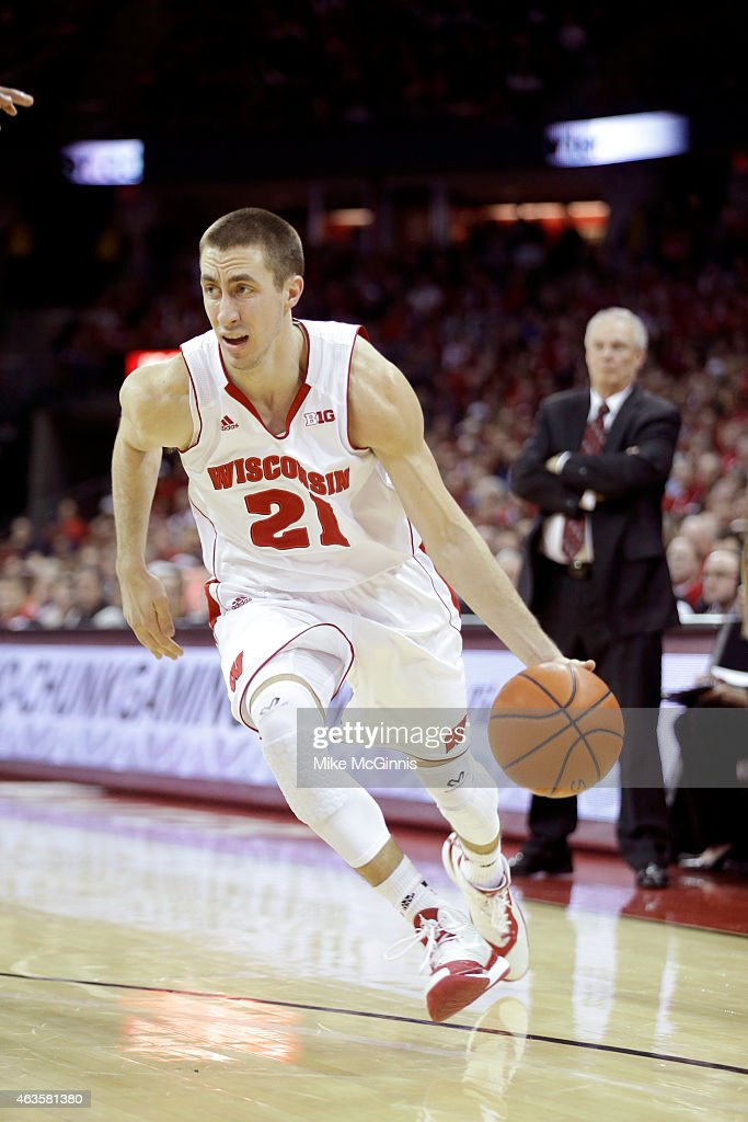 <a gi-track='captionPersonalityLinkClicked' href=/galleries/search?phrase=Josh+Gasser&family=editorial&specificpeople=7355332 ng-click='$event.stopPropagation()'>Josh Gasser</a> #21 of the Wisconsin Badgers drives to the hoop during the game the Illinois Fighting Illini at Kohl Center on February 15, 2015 in Madison, Wisconsin.