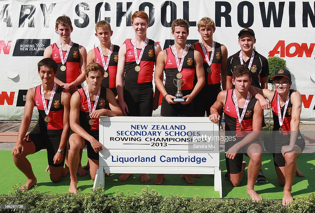 Josh Gaylor, Connor Loomans, Alex Parton, Lucas Clarke, Patrick McCurran, Matthew Handford, Kobi Abrahamson, Jack Clough and cox Hayden Shaw of Hamilton Boys High pose after winning gold in the boys U15 coxed eight final during day five of the Maadi Cup at Lake Karapiro on March 22, 2013 in Cambridge, New Zealand.